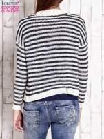 Granatowy otwarty sweter w paski                                  zdj.                                  4