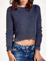 Granatowy sweter cropped z rozporkami                                  zdj.                                  5