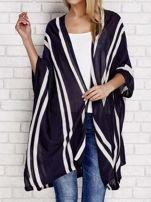 Granatowy sweter w paski o kroju poncha                                  zdj.                                  1
