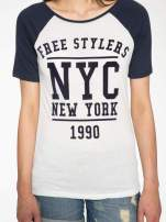 Granatowy t-shirt NEW YORK 1990  w stylu collage                                  zdj.                                  7