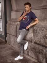 Granatowy t-shirt męski MAN OF STEEL                                  zdj.                                  13