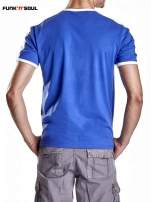 Granatowy t-shirt męski z napisem FRANCE Funk n Soul                                  zdj.                                  2