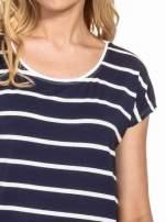 Granatowy t-shirt w białe paski                                  zdj.                                  5