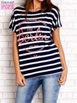 Granatowy t-shirt w białe paski z napisem NORTH CHAPEL STREET                                                                          zdj.                                                                         1