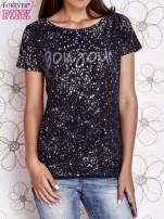 Granatowy t-shirt z napisem BONJOUR                                  zdj.                                  1