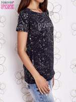 Granatowy t-shirt z napisem BONJOUR