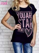 Granatowy t-shirt z napisem YOU ARE STAR IN MY HEART z dżetami