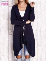 Granatowy wiązany asymetryczny sweter                                                                          zdj.                                                                         1