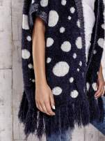 Granatowy włochaty sweter w grochy                                                                          zdj.                                                                         7