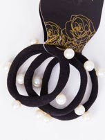 INCA Zestaw gumek do włosów czarna z perłami