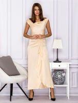 Jasnobeżowa długa sukienka z drapowaniami                                  zdj.                                  4