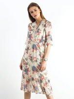 Jasnobeżowa kwiatowa sukienka                                  zdj.                                  1