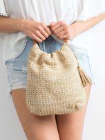 Jasnobeżowa mała torebka pleciona do ręki                                  zdj.                                  1