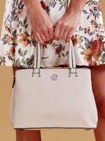 Jasnobeżowa trapezowa torebka kuferek do ręki                                  zdj.                                  2