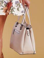 Jasnobeżowa trapezowa torebka kuferek do ręki                                  zdj.                                  4