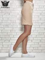 Jasnobrązowa spódnica z zapięciem na guzik                                  zdj.                                  3