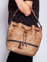 Jasnobrązowa torba z suwakami                                   zdj.                                  3
