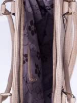 Jasnobrzowa torba shopper bag ze złotymi okuciami przy rączkach                                                                          zdj.                                                                         4