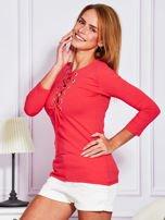 Jasnoczerwona bluzka lace up                                  zdj.                                  5