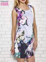 Jasnofioletowa sukienka z malowanym nadrukiem                                  zdj.                                  3