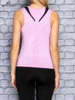 Jasnofioletowy damski top sportowy z czarną wstawką