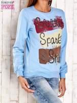 Jasnoniebieska bluza z napisem GLITTER SPARKLE SHINE                                  zdj.                                  3