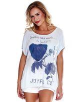 Jasnoniebieska bluzka z motywem kwiatowym i napisem                                  zdj.                                  1