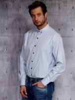 Jasnoniebieska koszula męska w delikatny wzór PLUS SIZE                                  zdj.                                  3