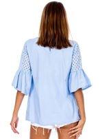Jasnoniebieska odcinana bluzka z szerokimi rękawami                                  zdj.                                  2