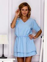Jasnoniebieska sukienka z gumką w pasie                                   zdj.                                  1