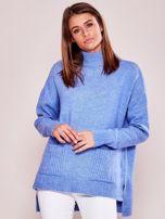 Jasnoniebieski luźny sweter z golfem                                  zdj.                                  5