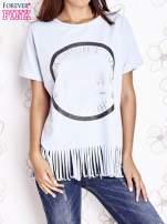 Jasnoniebieski t-shirt z nadrukiem i frędzlami                                                                          zdj.                                                                         1