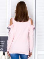 Jasnoróżowa bluza cut out z wstążkami                                  zdj.                                  2