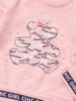 Jasnoróżowa bluzka dla dziewczynki z perełkami                                  zdj.                                  2