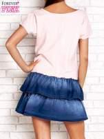Jasnoróżowa sukienka dresowa z jeansowym dołem                                                                          zdj.                                                                         5