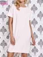 Jasnoróżowa sukienka dresowa ze ściągaczem na dole                                  zdj.                                  1