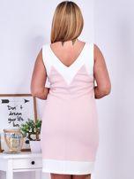 Jasnoróżowa sukienka z siateczkową wstawką PLUS SIZE                                  zdj.                                  2
