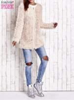 Jasnoróżowy futrzany sweter kurtka na suwak                                  zdj.                                  9