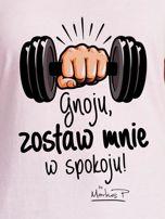 Jasnoróżowy t-shirt damski ZOSTAW MNIE by Markus P                                  zdj.                                  2