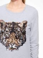 Jasnoszara bluza z aplikacją tygrysa z cekinów                                  zdj.                                  5