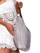 Jasnoszara duża torba z ażurowaniem i odpinanym paskiem                                  zdj.                                  3