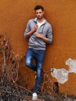 Jasnoszara melanżowa bluza męska z zasuwanymi kieszeniami