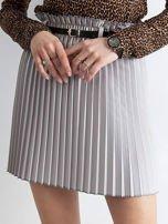 Jasnoszara plisowana spódnica z paskiem                                  zdj.                                  1