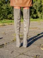 Jasnoszare zamszowe kozaki faux suede na szpilkach za kolano                                  zdj.                                  1