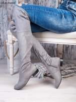 Jasnoszare zamszowe kozaki faux suede za kolana wiązane na sznurek nad kolanem                                  zdj.                                  2