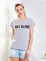 Jasnoszary t-shirt NOT ALONE                                  zdj.                                  1