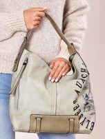 Jasnozielona torba z ćwiekami na pasku i nadrukiem                                  zdj.                                  4
