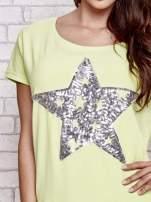 Jasnozielony t-shirt z gwiazdą z cekinów                                  zdj.                                  5