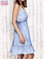 Jeansowa sukienka z falbaną na dole                                                                          zdj.                                                                         3
