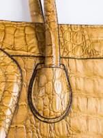 Kawowa trapezowa torba miejska z efektem skóry krokodyla                                  zdj.                                  5